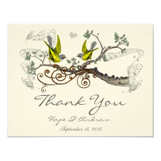 Yellow Winged & Gray Vintage Love Birds  Thank You Card