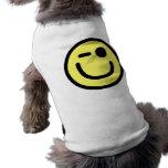 Yellow Winking Smiley Face Sleeveless Dog Shirt