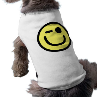 Yellow Winking Smiley Face Sleeveless Dog Shirt