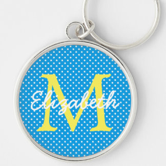 Yellow With Blue and White Polka Dot Monogram Key Ring