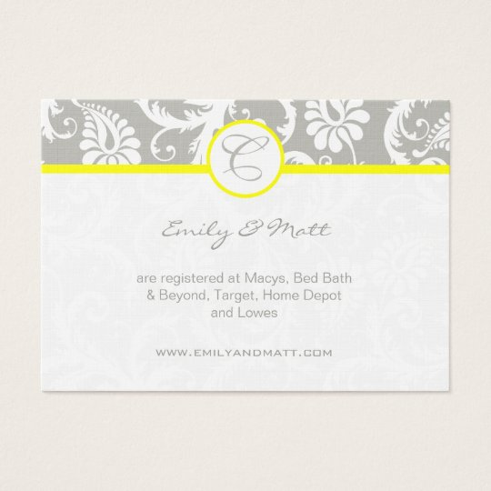 Yellow with Grey Damask Wedding Info Cards