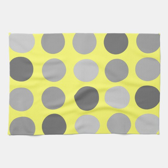 Yellow With Grey Polka Dots Kitchen Towels Zazzle Co Uk