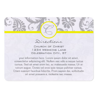 Yellow with light Gray Damask Wedding Info Cards Business Card Templates