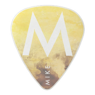 yellow with name, guitar-player's cool acetal guitar pick