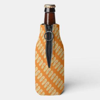 Yellow with Orange Flip Flop Pattern Bottle Cooler