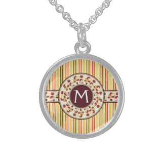 Yellow With Orange Stripes Pattern With Initial Sterling Silver Necklace