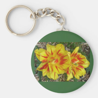 Yellow with Red Striped Flower Basic Round Button Key Ring