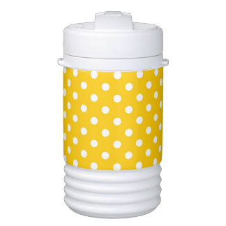 Yellow with white polka dots cooler