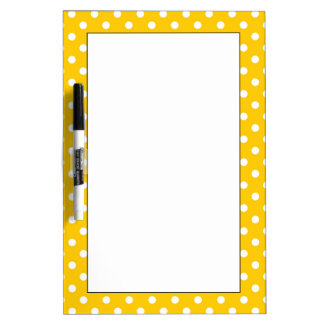 Yellow with white polka dots dry erase boards