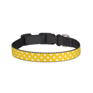 Yellow with white polka dots pet collar
