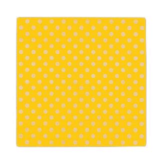 Yellow with white polka dots wood coaster