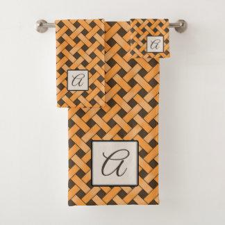 Yellow Woven Rattan on Custom Color with Monogram Bath Towel Set