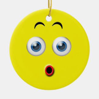 Yellow Wow Surprised Emoji Custom Name Christmas Ornament