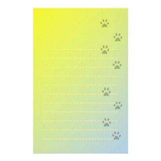 Yellow Writing Paper with Cat Footprints Stationery Design