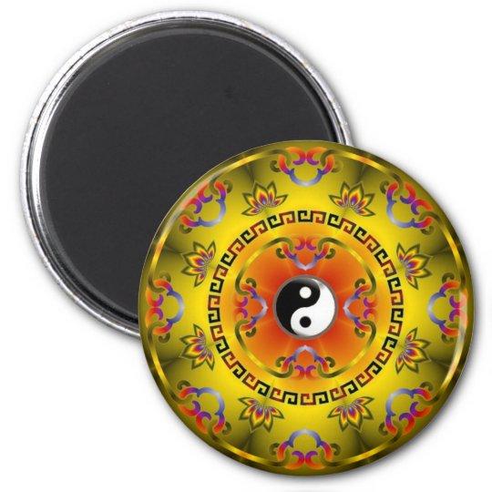 Yellow Yin Yang 6 Cm Round Magnet