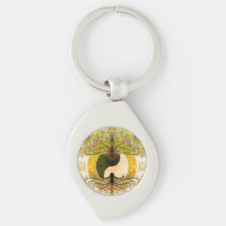 Yellow Yin Yang w/ Tree of Life Key Ring