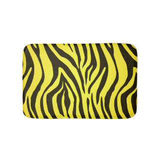 Yellow zebra animal print pattern bath mat