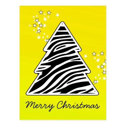 Yellow Zebra Christmas Tree Post Card
