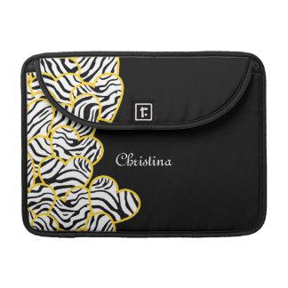 Yellow zebra hearts Rickshaw Flap Sleeve Sleeves For MacBooks