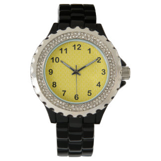 Yellow Zebra Print Pattern with Black Numbers Watch
