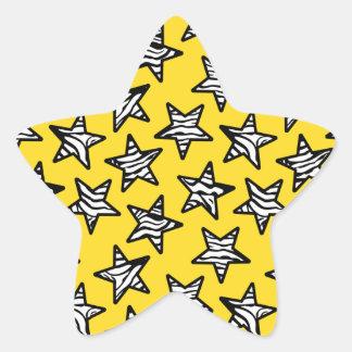 Yellow zebra print stars star sticker