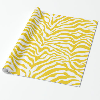 Yellow Zebra Stripe Wrapping Paper