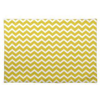 Yellow Zig Zag Chevrons Pattern Placemat