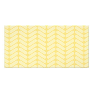 Yellow Zigzag Pattern inspired by Knitting. Photo Card