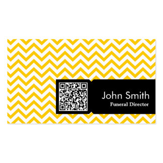 Yellow Zigzag QR Code Funeral Business Card