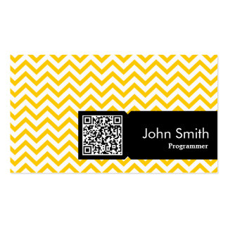 Yellow Zigzag QR Code Programmer Business Card