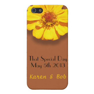 Yellow Zinnia w/ Brown Damask Pattern Case For iPhone 5/5S