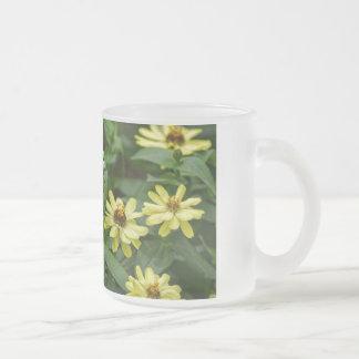 Yellow Zinnias Frosted Glass Mug