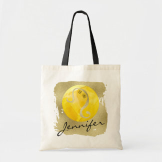 Yellow Zodiac Sign Leo on Gold Background Tote Bag