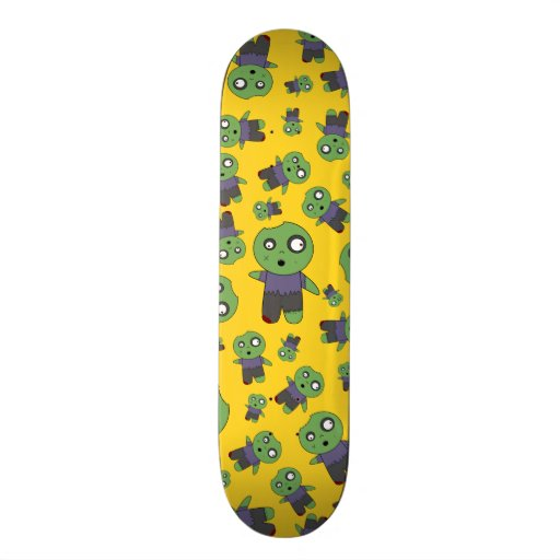 Yellow zombies skateboard deck