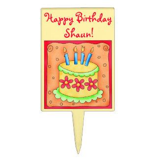 Yellowand Orange Happy Birthday Cake Pick