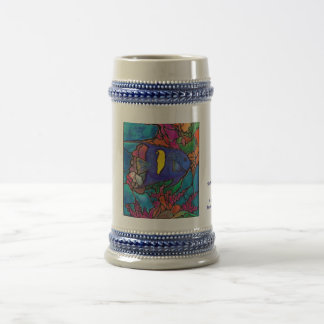 "Yellowbar Angelfish Coral Reef Art ""Stained Glass"" Beer Stein"