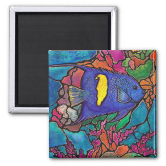 "Yellowbar Angelfish Coral Reef Art ""Stained Glass"" Square Magnet"