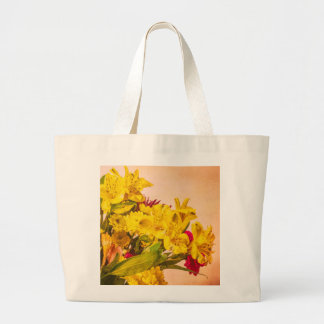 Yellowed Flowers Large Tote Bag
