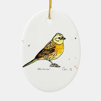 Yellowhammer bird christmas ornament
