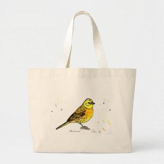 Yellowhammer bird large tote bag