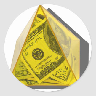 YellowPowerPyramidMoney021411 Round Sticker