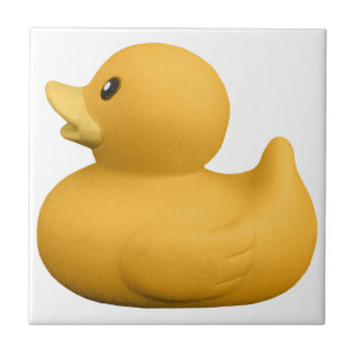 YellowRubberDuck CUTE YELLOW RUBBER DUCK DUCKIE GR Small Square Tile