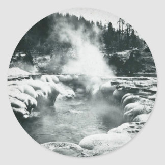 Yellowstone Geyser Vintage Glass Slide Round Sticker