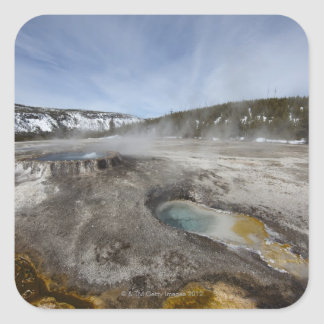 Yellowstone is famous for its geothermal square sticker