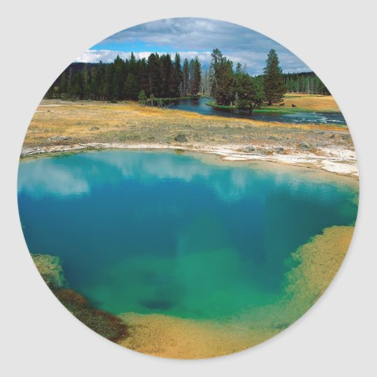Yellowstone Morning Glory Pool Wyoming Classic Round Sticker