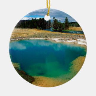 Yellowstone Morning Glory Pool Wyoming Round Ceramic Decoration