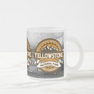 Yellowstone National Park Golden Yellow Logo Frosted Glass Mug