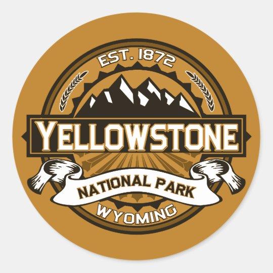 Yellowstone National Park Golden Yellow Logo Round Sticker