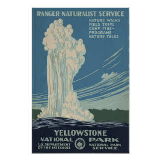 Yellowstone National Park Old Faithful Poster