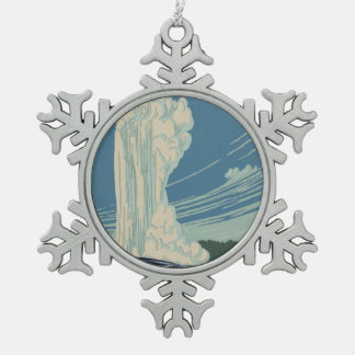 Yellowstone National Park Old Faithful Snowflake Pewter Christmas Ornament